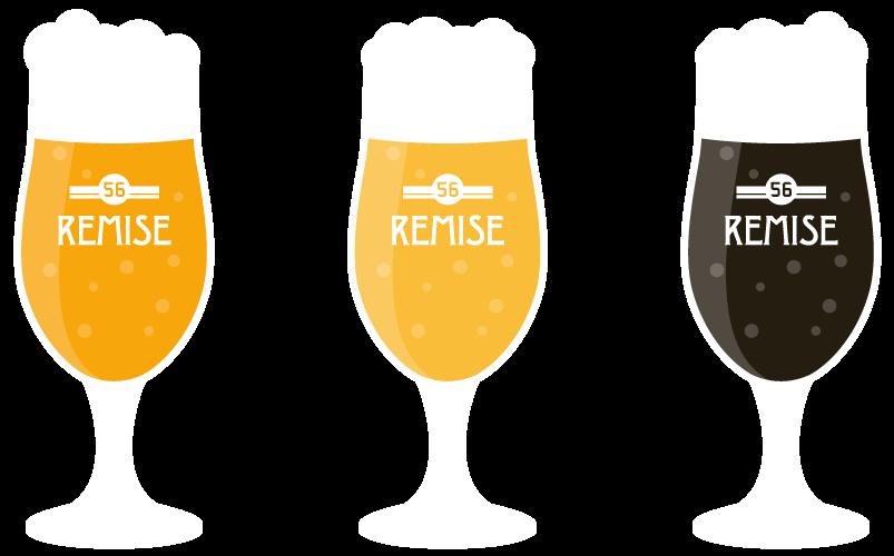 Tekening van de drie Remise bieren