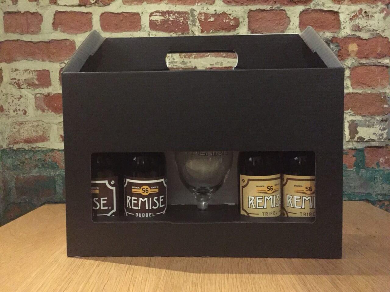 Geschenk koffer met Remise 56 Dubbel Tripel en Glas